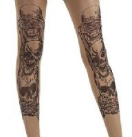 Pamela Mann Sheer Nude & Black Tattoo Tights